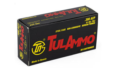 TulAmmo USA Steel Case. 380ACP, 91 Grain, Full Metal Jacket, 50 Round Box TA380910