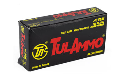 TulAmmo USA Steel Case, 40S&W, 180 Grain, Full Metal Jacket, Bi-Metal Casing, Non Corrosive, 50 Round Box TA401800