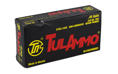 TulAmmo USA Steel Case, 45ACP, 230 Grain, Full Metal Jacket, Bi-Metal Casing, Non Corrosive, 50 Round Box TA452300