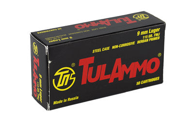 TulAmmo USA Steel Case, 9MM, 115 Grain, Full Metal Jacket, Bi-Metal Casing, Non Corrosive, 50 Round Box TA919150