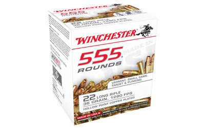 Winchester Rimfire, 22LR, 36 Grain, Hollow Point, 555 Round Brick 22LR555HP