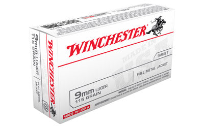 Winchester USA, 9MM, 115 Grain, Full Metal Jacket, 50 Round Box Q4172