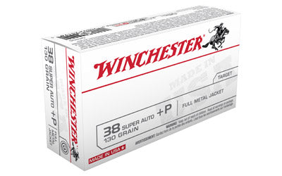 Winchester USA, 38 Super, 130 Grain, Full Metal Jacket, +P, 50 Round Box Q4205