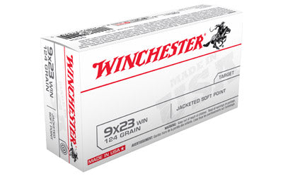 Winchester USA, 9X23 WIN, 124 Grain, Jacket Flat Point, 50 Round Box Q4304