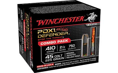 "Winchester Supreme Elite, 410 Gauge, 2.5"", 225 Grain, Buck Shot and Hollow Point Combo Pack, (10) 45LC, (10) 410GA, 20 Round Box S41045PD"