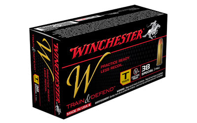 Winchester W - Train & Defend, 38 Special, 130 Grain, Full Metal Jacket, Low Recoil, 50 Round Box W38SPLT