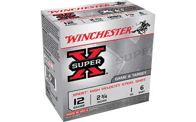 "Winchester Xpert, 12 Gauge, 2.75"", #6, 1oz, Steel Shot, Lead Free, 25 Round Box WE12GT6"