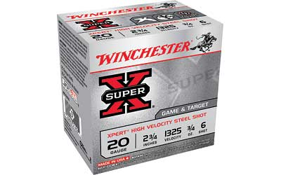 "Winchester Xpert, 20 Gauge, 2.75"", #6, 3/4 oz., Steel Shot, Lead Free, 25 Round Box WE20GT6"
