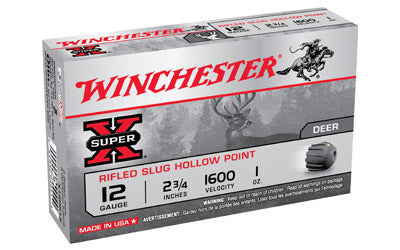 "Winchester Super-X, 12 Gauge, 2.75"", 1oz., Slug, 5 Round Box X12RS15"
