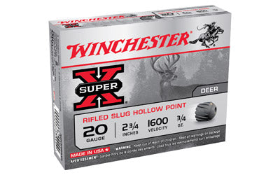 "Winchester Super-X, 20 Gauge, 2.75"", 0.75 oz., Slug, 5 Round Box X20RSM5"