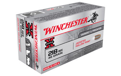 Winchester Super-X, 218 Bee, 46 Grain, Hollow Point, 50 Round Box X218B