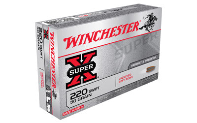Winchester Super-X, 220 Swift, 50 Grain, Pointed Soft Point, 20 Round Box X220S