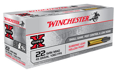 Winchester Super-X Subsonic, 22WMR, 45 Grain, Jacketed Hollow Point X22MSUB