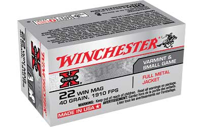 Winchester Super-X, 22 WMR, 40 Grain, Full Metal Jacket, 50 Round Box X22M