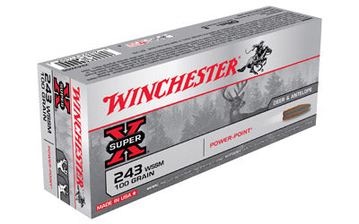Winchester Super-X, 243WIN, Super Short Magnum, 100 Grain, Power Point, 20 Round Box X243WSS