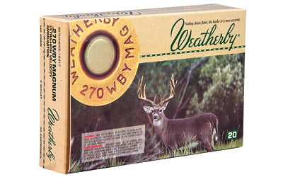 Weatherby Ammunition,270 Weatherby, 130 Grain, Spire Point, 20 Round Box H270130SP