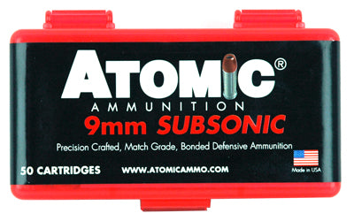 Atomic Ammo 9mm Luger Subsonic 147gr. Bonded JHP 50-Pack