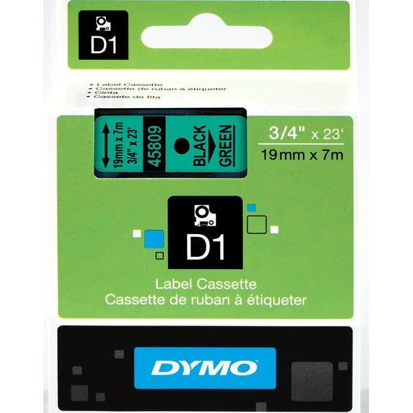 "Dymo D1 45809 Tape - 0.75"" Width x 23 ft Length - 1 Roll - Polyester - Thermal Transfer - Green"