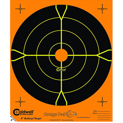 "Caldwell Orange Peel 8"" Bulls-Eye - 25 Sheets"