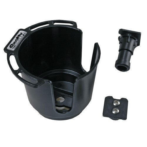 Scotty Cup Holder w/Rod Hldr Post & Bulkhead/Gnnel Mnt Black
