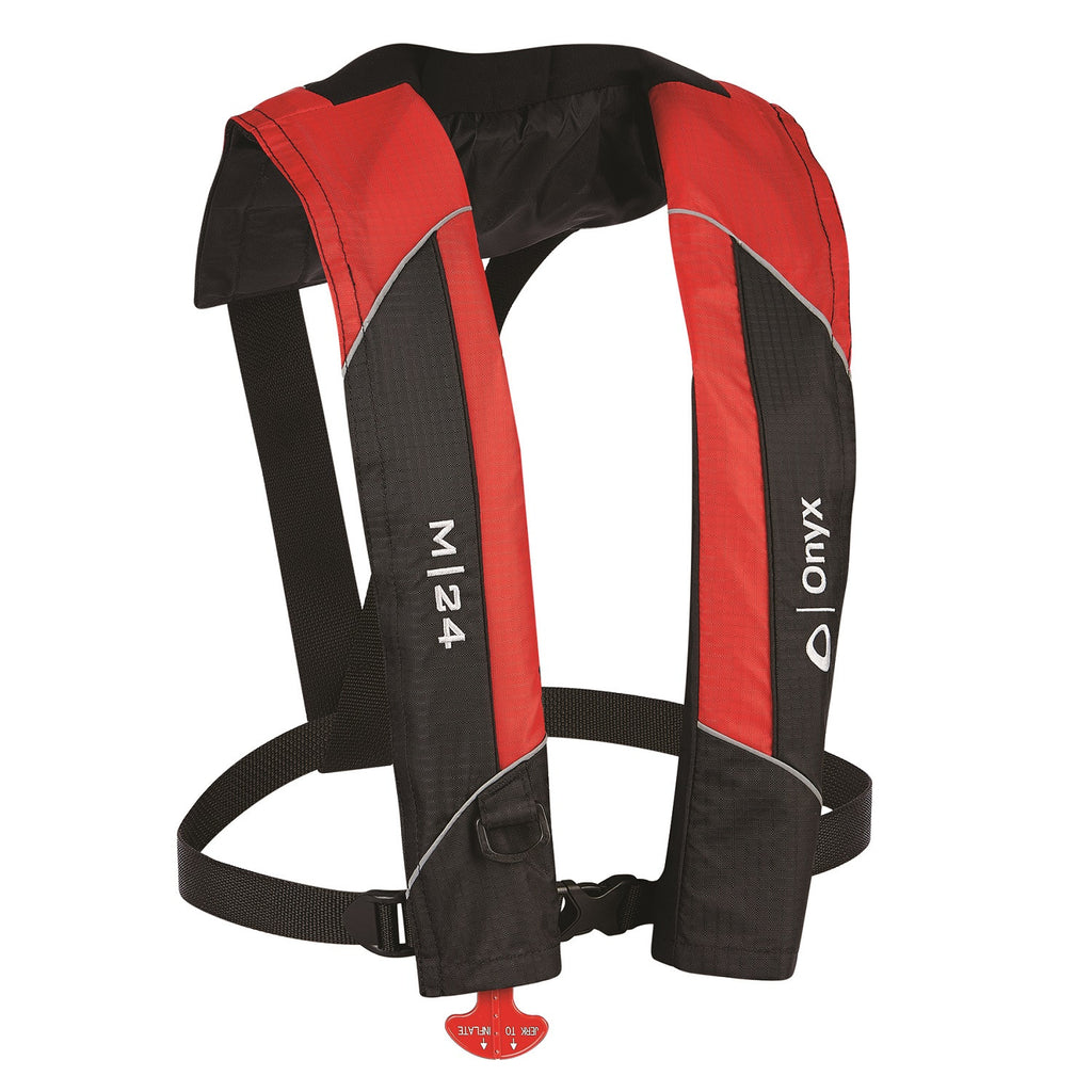 Onyx Outdoor M-24 Manual Inflatable Life Jacket-Red