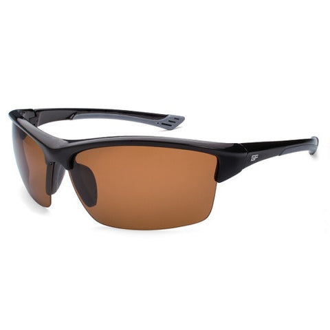 Gone Fishing Sunfish Black/Grey Frame Brown Lens Sunglasses