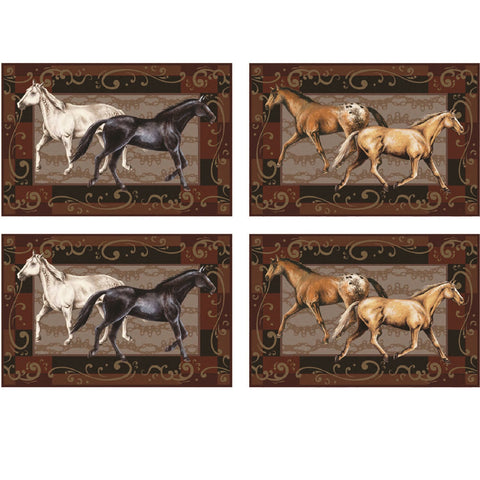 Rivers Edge 4 Piece Horses Placemat Set