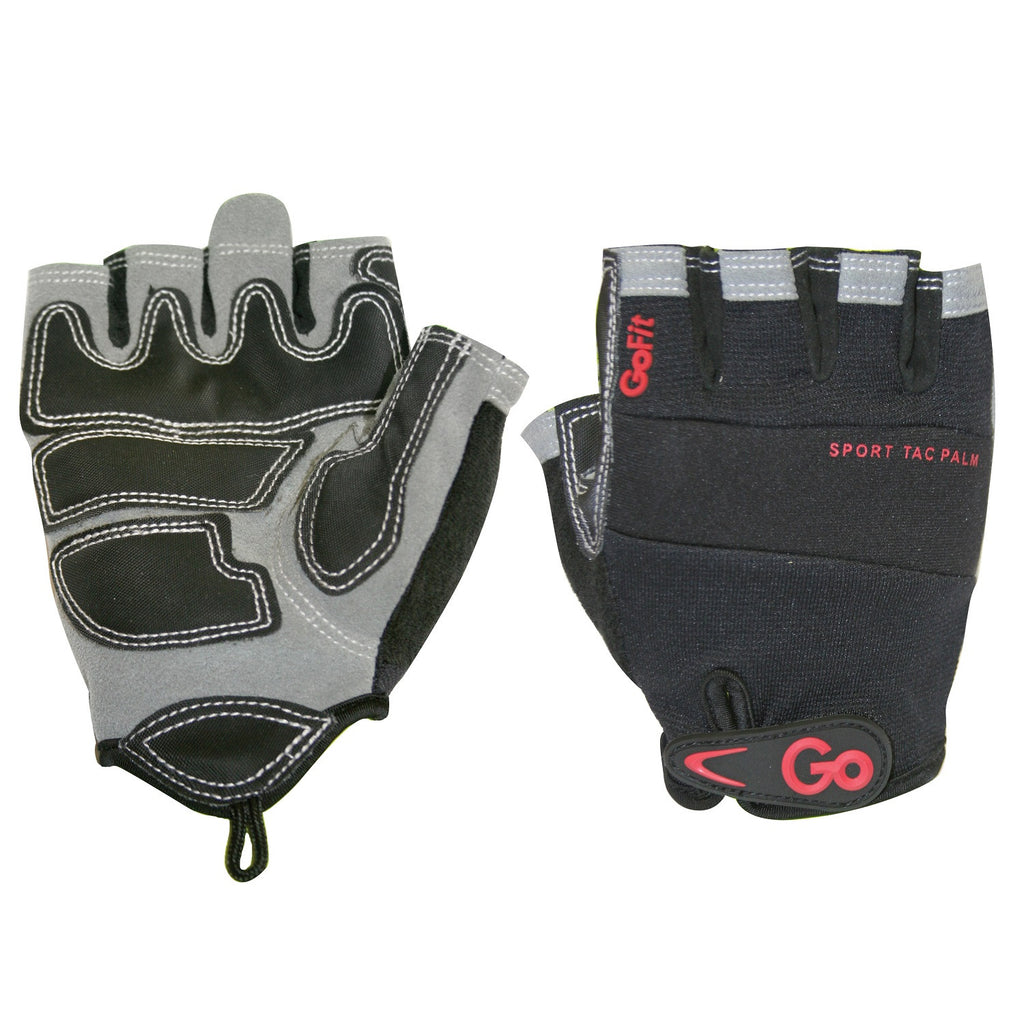 GoFit Men's Pro Sport-Tac Glove - Black/Gray/Red Accent - M
