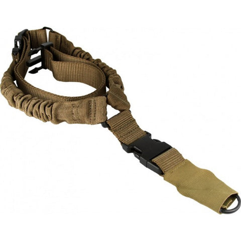 AIM Sports One Point Bungee Sling/Steel Clip/Sleeve-Tan