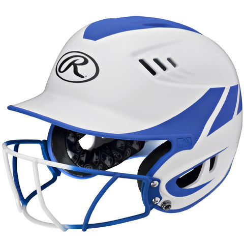 Rawlings Velo Senior 2-Tone Home Softball Helmet w/Mask-Blue