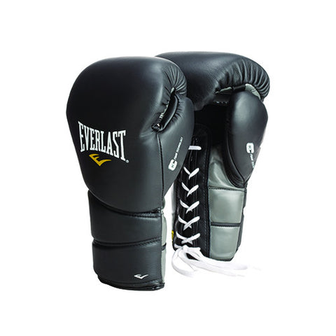 Everlast Black 14oz ProTex2 Leather Training Gloves Lace