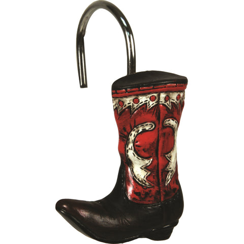 Rivers Edge 12 Piece Cowboy Boots Shower Curtain Hooks