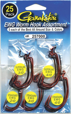 Gamakatsu Extra Wide Gap Worm Hook Assortment 25 Pack 257000