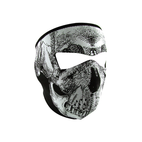 Zan Headgear Full Mask Glow in the Dark Blk/Wht Skull Face