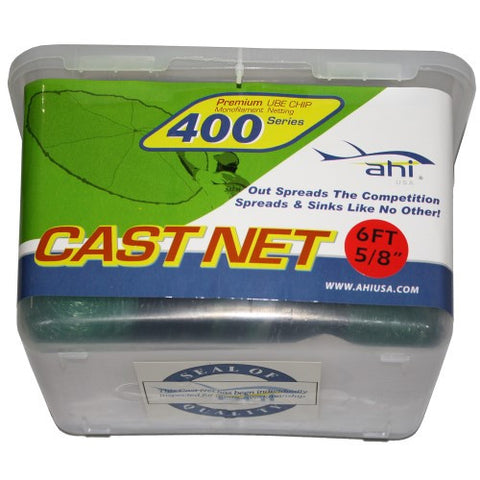 "Ahi 400 Series Cast Net 6 ft - Green Mono Net 5/8"" Mesh"