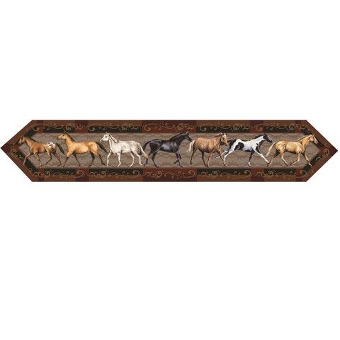 Rivers Edge Horses 71in x 13in Table Runner