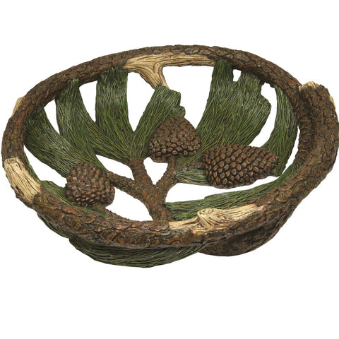 Rivers Edge Pine Cone Fruit Bowl 12in Diameter