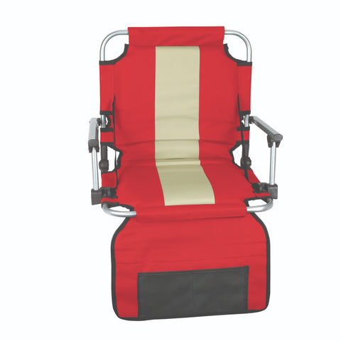 Stansport Stadium Seat With Arms - Red With Silver Stripe