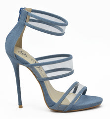 SO ME Gabrielle_Denim 3 Strap Transparent Lucite High Heel Shoe