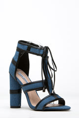 CR- Maura-2 DENIM Lace Up Open Peep Toe Strappy Block Heel Sandal