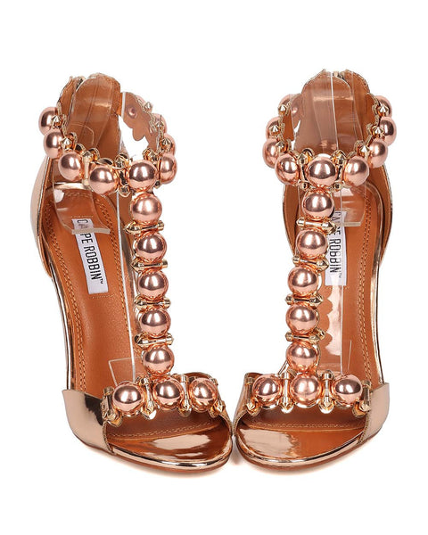CR- Alza-40 Open Toe T Strap Shiny Mirror Shoe Metallic Bronze
