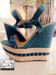 Poetic Denim Wedge Heel Sandal