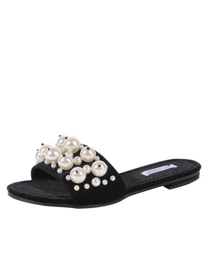 CR- Evelyn-6 Pearl Detailed Slide Sandals