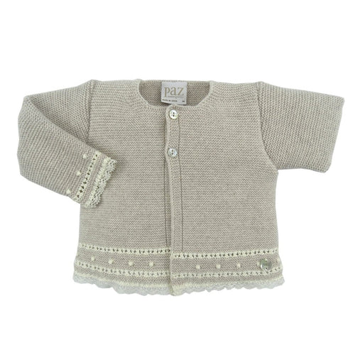 Light Brown Cream Knit Newborn Magia Cardigan Knickers and Camp Anilla Blouse Set