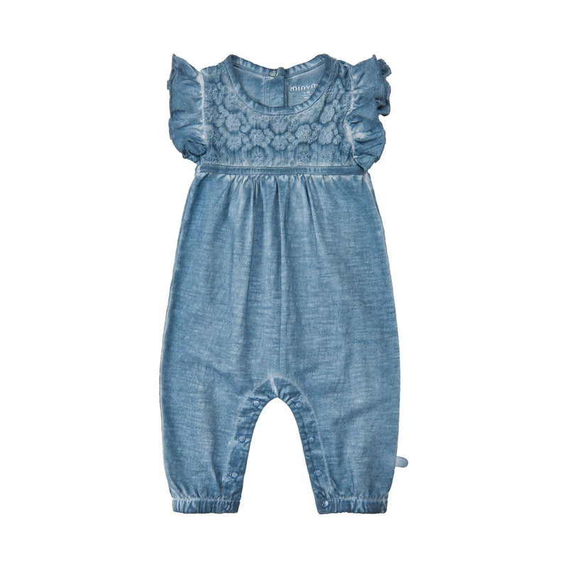 eyelet denim soft wash cotton romper