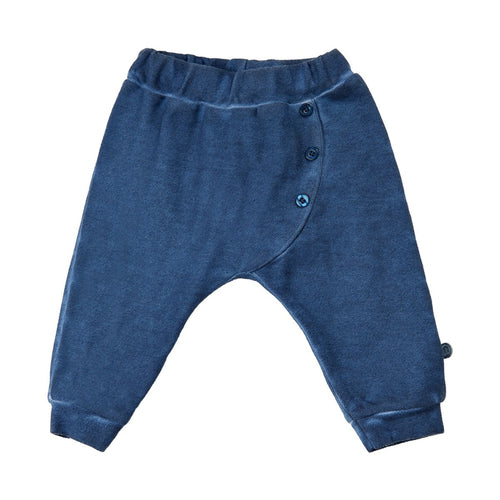 blue drop waist pant with buttons