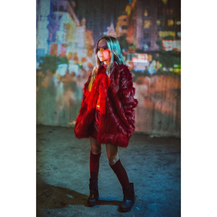 Oversized Red Faux Fur Coat