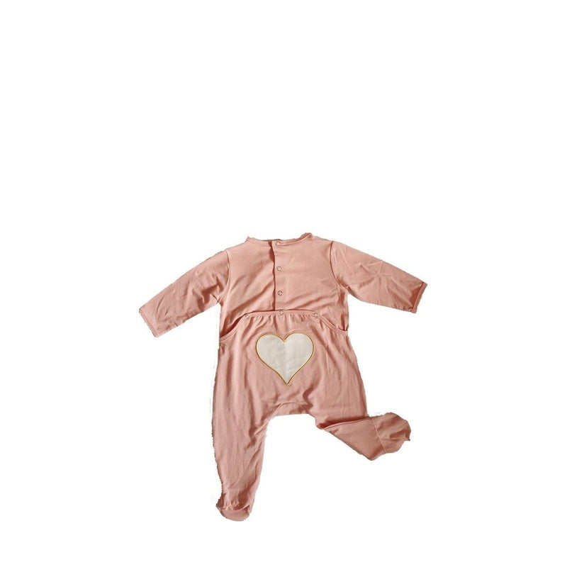 black flap pink heart footie