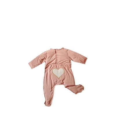 Pink Flap Heart Footie