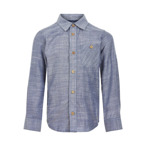 soft denim wash shirt with wooden buttons